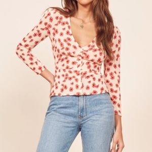 REFORMATION Jemma Top in Daisy Days NWT